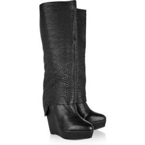 Elizabeth and James textured-leather knee hi boots